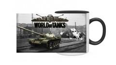 """КРУЖКА КЕРАМИЧЕСКАЯ С ЦВЕТНОЙ ЗАЛИВКОЙ И ЦВЕТНОЙ РУЧКОЙ """"World of tanks"""""""
