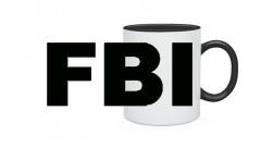 """КРУЖКА КЕРАМИЧЕСКАЯ С ЦВЕТНОЙ ЗАЛИВКОЙ И ЦВЕТНОЙ РУЧКОЙ """" FBI """""""